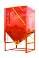 red portable grain bin with ladder