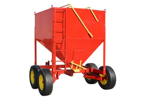 A grain bin on wheels for horse and cattle feeders