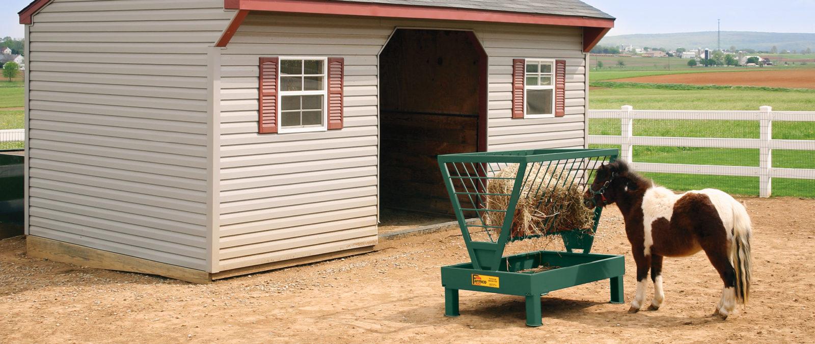 A horse hay feeder