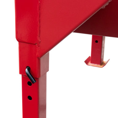 two metal jacks extended for the metal hay feeders