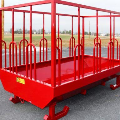 red custom farm equipment hay feeder