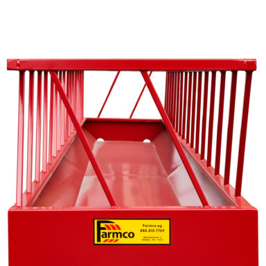Front view of metal hay feeder